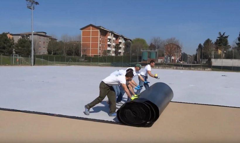 Sistema con drenaggio orizzontale su una superficie sportiva